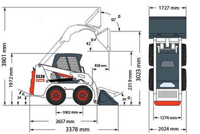размеры мини-погрузчика BOBCAT S160
